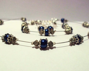 Necklace, bracelet and earrings set silver and midnight blue
