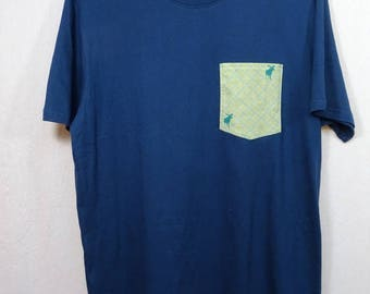 Teal shirt with Pocket pattern caribou