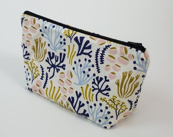 Zipper pouch with seaweed print and waterproof lining. Makeup pouch, cosmetic bag, pencil case, wet bag