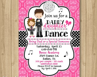 Father Daughter Dance Invitation, Dance Party Invitation, Dance Birthday Invitation, Daddy Daughter Dance Invitation