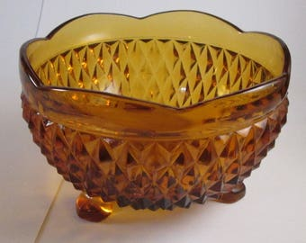 Vintage 3 Footed Diamond Point Amber Glass Candy Nut Dish Indiana Glass