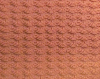 Peach Baby Afghan in Knitted Ripple Stitch