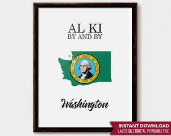 Washington State, Washington Print, Washington Gift, Washington Art, Seattle Washington, Washington Decor, Washington State Art, State Flag