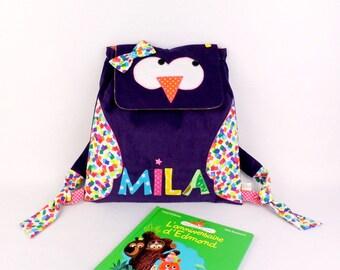 Sac à dos crèche bébé personnalisé prénom Mila chouette hibou violet multicolores rose sac maternelle cadeau naissance personnalisé baptême