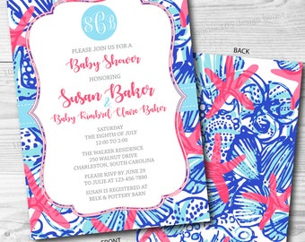 Lilly Pulitzer Invitation Front & Back Printable - Baby Shower Invitation - Printable Bridal Shower Invite - Can be customized for any event