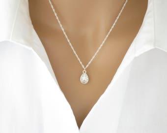 Crystal necklace, Swarovski crystal teardrop bridal necklace, Simple wedding necklace, Sterling silver pendant necklace, Bridesmaid necklace