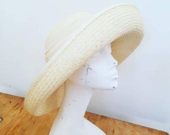 Vintage straw hat - Made in England Vintage hats - Formal hat - Sun hat