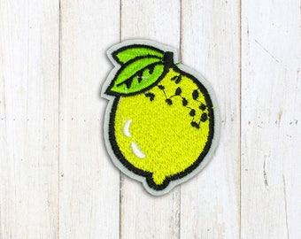 Yellow lemon Iron on Patch(M2) - Fruit Applique Embroidered Iron on Patch- Size 5.2x7.5cm