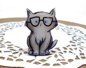 Cat brooch Cat intelligent pin Animal brooch animal jewelry , cat jewelry clay cat  clay pin Cat nerd.
