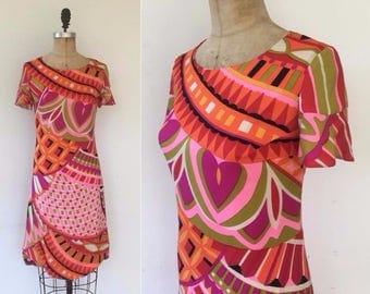 Vintage 60s Rita Originals dress, vintage sheath dress, Pucci print dress, silk sheath dress
