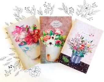 Carnets, 3 carnets de notes, lot papeterie, idée cadeau papeterie Noël, 3 cahiers A6, journal de voyage, pivoines aquarelle, carnets pivoine