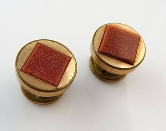 Antique Vintage Button Back Cufflinks Small Round with Goldstone