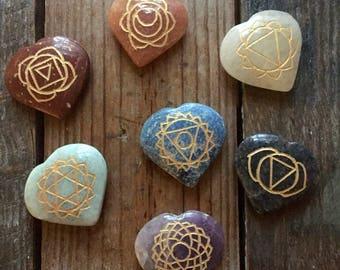 Chakra Hearts | Set of 7 | Reiki Love Infused | Spiritual Junkies | Healing Crystals + Gemstones | Altar