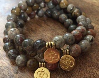 Silver Mist Jasper + Hill Tribe Gold Vermeil Om | Spiritual Junkies | Yoga + Meditation | Single Stackable Mala Bracelet