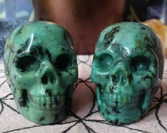Beautiful African Turquoise Hand Carved Crystal Skull - Crystal Healing, Consciousness, Crystal Energy Transmitter, Ancient Knowledge