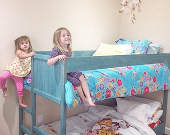 Modern Low Twin Bunk Bed (bunk bed, wood bunk bed, toddler bed, kids bed, twin bed, twin bunk bed, mini bunk bed)