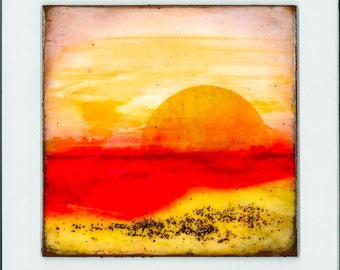 Small abstract landscape painting ~ Mixed media ~ Original  ~ Colorful contemporary artwork  ~ RED SEA