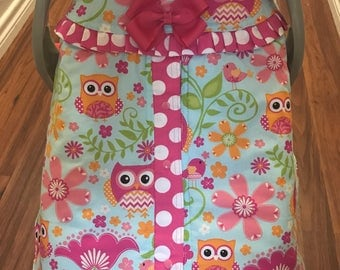 Owls/ Hot pink and white polkadots infant car seat canopy