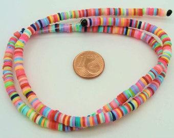 450 perles fimo rondelles 4mm mix couleurs mix couleurs fil création bijoux