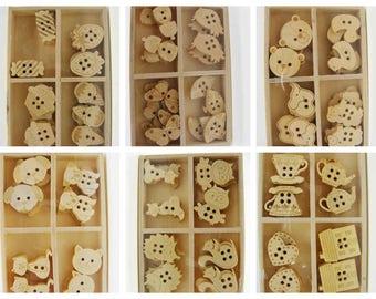 24 Boutons Scrapbooking Bois Artemio boites 4 motifs Loisirs créatifs Déco Animal Chat Ourson Japon Gourmandise Service thé