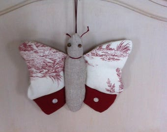 butterfly fabric to hang canvas red jouy