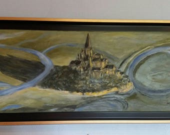 Mont Saint Michel, from the air framed oil painting