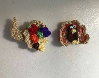 Set of 2 Crocheted Fridge Magnets-Turkey and Cornucopia