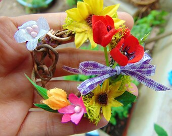 Dollhouse Miniature Autumn Fall Sunflower Wreath,Dollhouse Spring Wreath, Miniature Wreath,Poppy Wreath,mini wreath,dollhouse flowers,decor
