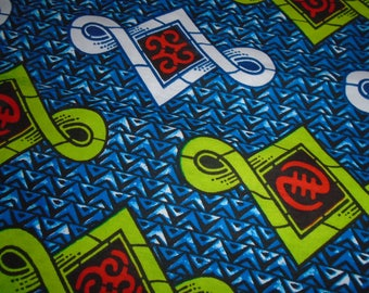 African Wax Print, with Adinkra Symbols, Hitarget, by the half yard