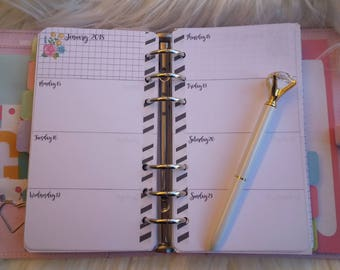 Weekly horizontal refill Planner dated January to December 2018 Personal size Pocket size