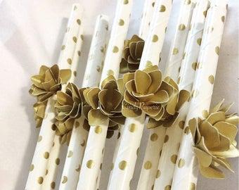 Retro Paper Straws/ Gold + White / Gold Flower (Pack of 12)