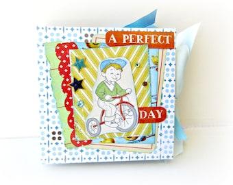 Baby boy scrapbook album / Premade mini album/ Boy memory photo album/ Blue book/ Baby shower gift/  Memory photo album/ Ready to ship