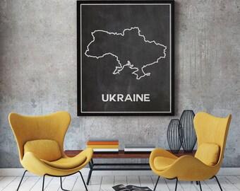 Chalkboard map etsy ukraine map of ukraine chalkboard map outline map of ukraine map ukrainian home decor ukrainian poster gumiabroncs Gallery