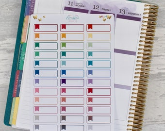Rainbow Tiny Flag Outline Event Labels/ Quarter Boxes - Stickers for Planners!
