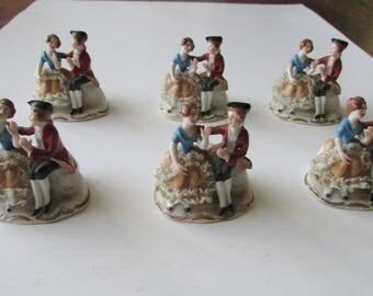 6 Vintage Germany Place Card Holders Porcelain Couple Figural Holder