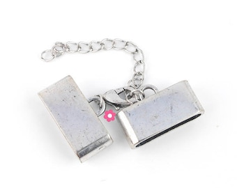 End caps lobster clasp and extension chain (57) silver rectangle