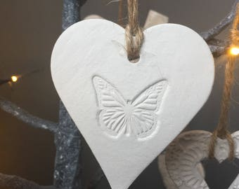 Butterfly white hanging heart decoration