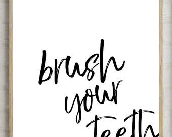 70% brush your teeth, printable bathroom, bathroom decor, bathroom print, wash your print, wash print, wash teeth print, instant download,