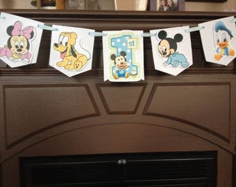 Baby Mickey Mouse 1st Birthday Party Mini Banner
