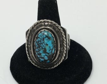 Ca. 1960's Native American Sterling Silver Handmade Natural Thunder Mountain Turquoise Ring
