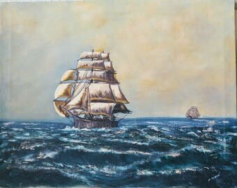 Two Full-Masted Tall Ships at Sea, an original oil painting by M Boesé.