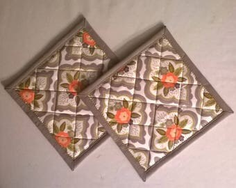 Set of Two Vintage Gray and Coral Floral Potholders Hot Pads Hanging Loop Optional