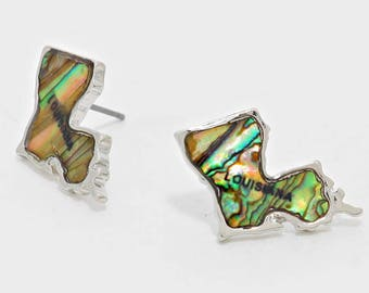 Louisiana State Map Abalone Stuf Earrings  - Silver Tone