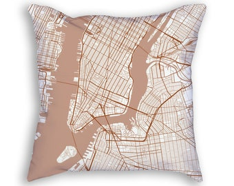 New York City New York Street Map Throw Pillow
