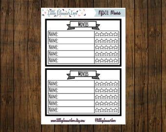 Movie Tracker Note Page Planner Stickers