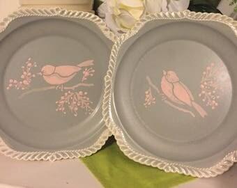 Upcycled Corinthian Harkerware plates.