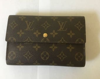 Authentic Vintage LOUIS VUITTON Trifold rare style hidden pocket organizer clutch wallet bag long monogram leather