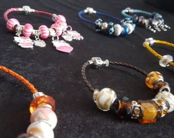 Braided leather charm bracelets