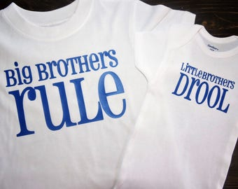 Big brother little brother set of shirts, onesie any colors and sizes big brothers rule little brothers drool so cute siblings