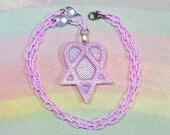 Pastel Goth Necklace, Creepy Cute Necklace, Pop Kei Necklace, Kawaii Pentagram Necklace, Soft Grunge Necklace, Heartagram Necklace